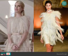 Chanel's cream feather dress on Scream Queens. Outfit Details: http://wornontv.net/52206/ #ScreamQueens