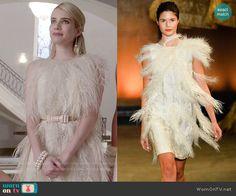 Chanel's cream feather dress  on Scream Queens.  Outfit Details: http://wornontv.net/52206/ #ScreamQueens