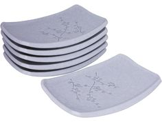 Minimalist White Cherry Blossom Dessert Plate Set of Six