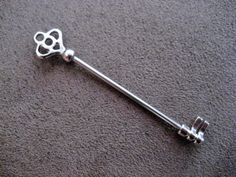 Skeleton Key Industrial Barbell Silver Surgical Steel Finish 14 Gauge Scaffold Piercing Bar Antique 2 Inch