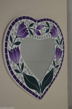 Mosaic Purple Tulip Heart Mirror 30 cm Includes Next Day Delivery Mosaic Tile Art, Mosaic Artwork, Mirror Mosaic, Mosaic Crafts, Mosaic Projects, Mosaic Glass, Glass Art, Mosaics, Stained Glass