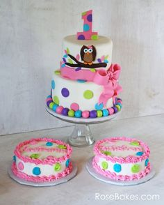 Love, love, LOVE this design! Owls are so cute! | Owl Cake for Twins 1st Birthday and Smash Cakes