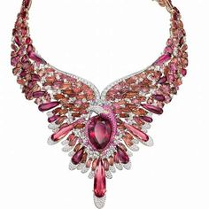 The Flamingo Rouge The 18K rose gold and white gold necklace and earrings set takes on Chow Tai Fook's signature flamingo motif, with pink sapphires, diamonds and red tourmalines being the feathers on the allegorical bird.