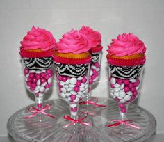 Hot Pink and Zebra Print Cupcakes in Champagne Glasses