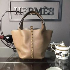 Hermes Calfskin Leather Picotin Lock MM Bag with Rivet