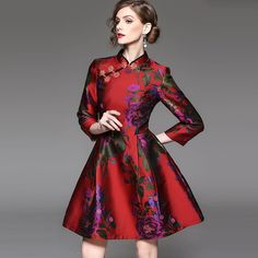 Floral Print Qi Pao Dress With Oriental Collar And Knots Cheongsam, Beautiful Dresses, High Fashion, Party Dress, Floral Prints, Clothes For Women, My Style, Outfits, Fasion