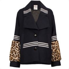 Navy Blue Jacket With Leopard Cuffs (€405) ❤ liked on Polyvore featuring outerwear, jackets, leopard print jacket, leopard jacket, navy jacket, baum und pferdgarten and navy blue jackets