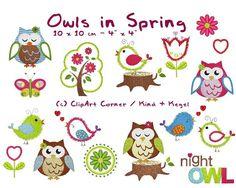 10x10 Stickdateien Owls in Spring Set 1 von kindundkegel-shop auf DaWanda.com
