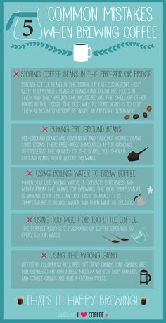 5 common mistakes when brewing coffee welp good to know ! Coffee Is Life, I Love Coffee, Coffee Break, My Coffee, Morning Coffee, How To Brew Coffee, Chemex Coffee, Coffee Barista, Coffee Corner