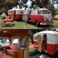 Camping in style - Volkswagen Type 2 Microbus with matching camper Volkswagen Transporter, Volkswagen New Beetle, Vw T1, Volkswagen Golf, Kombi Trailer, Vw Caravan, Mini Camper, Vw Camper Vans, Kombi Camper