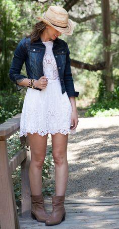 Lace Dress w/Jean Jacket, dress is too short but so cute.