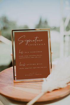 Wedding Drink Menu, Wedding Signature Drinks, Wedding Signage, Diy Wedding Signs, Wedding Cocktail Hour, Signature Drink Signs, Bar Wedding Ideas, Cocktail Menu, Signs At Weddings