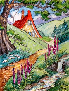 Alida Akers art on Etsy - Life Past the Brook Storybook Cottage Series by StoneHouseArtists