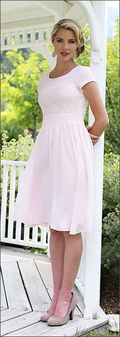 LDS Bridesmaid Dress, Soft casual chiffon and lace modest bridesmaid dress in several colors. Perfect for LDS Temple Weddings, or anyone who desires a more modest bridesmaid dress. Also perfect sunday dress