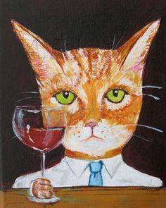 Orange Tiger Cat with Red Wine 8 x 10 Art by SilentMyloStudio