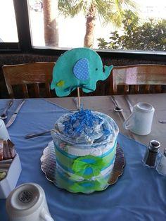♡ Diaper cake baby showrr centerpice elephant ♡