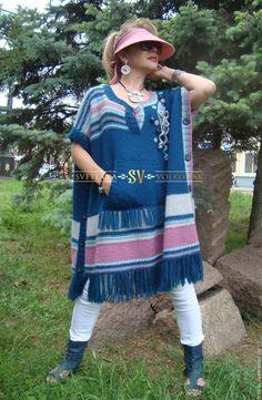 Купить Пончо-туника (авторское ручное вязание) - морская волна, тёмно-синий, разноцветный