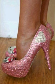 Hello kitty pink shimmer heels
