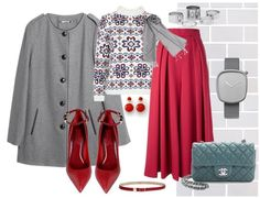 White sweater, red skirt, and grey coat with grey hijab