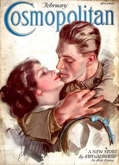 """My Man"" ~  WWI era cover of a returning soldier and his woman on the cover of the February 1918 Cosmopolitan Magazine."
