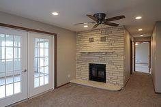 Limestone Fireplace in the basement