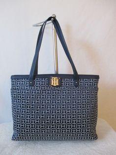 Tommy Hilfiger Handbag Tote 6935532 471 Color Blue Silver Retail Price $ 118.00 #TommyHilfiger #Totes