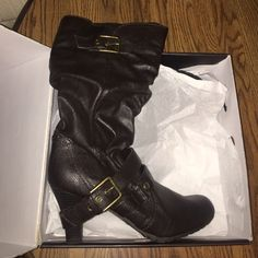 NWT Guess Boots Priced to sell!!!! Never worn, brand new!!!! Only selling because they didn't fit my mom and they were given to her as a gift. Dark brown color, kitten heel, round toe, marked a size 11 but fit closer to a 10-10.5. G by Guess Shoes Heeled Boots