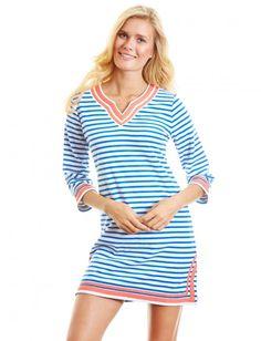 Oceana V-neck Terry Tunic, $90.00 Cabana Life 50+ UPV Sun Protective Clothing