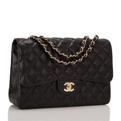Chanel black Jumbo Classic single flap bag of caviar leather with gold tone  hardware 5584e12341867