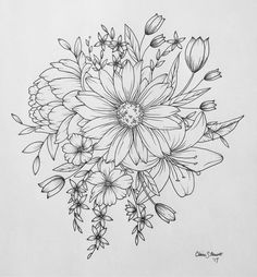 Floral flower drawing black and white illustration line shoulder piece sunflower lily peony flowers tattoo tulips drawing art sketchbook mightylinksfo