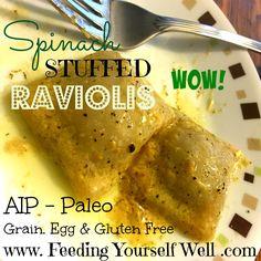 AIP - Paleo - Spinach Stuffed Raviolis - www.FeedingYourselfWell.com
