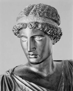 Athena Lemnia head. The eyes and the bandhair are painted. Painted plaster cast. Blanton Museum, University of Texas, Austin.