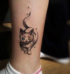 Tatuajes de gatos 5 Cute Cat Tattoo, Mandala, Cat Tattoo Designs, Cool Tats, Canvas Designs, Crochet Videos, Tattoo You, Types Of Art, Pastel Pink