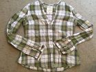 HOLLISTER Sheer V-Neck Green Plaid Casual Button Down Shirt Top womens Large LG