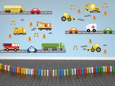 Transporte Wall Decals coche etiqueta de la pared, etiqueta de camión de bomberos, construcción calcomanías, niños dormitorio decoración, carro, calcomanías. Esta colorida escena de vehículos de transporte es la manera perfecta para animar la habitación de tu niño! Este juego tiene todo
