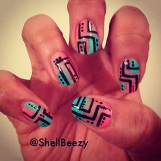 Negative Space Nail Designs-- I love the pops of color and the contrasting black lines and dots.