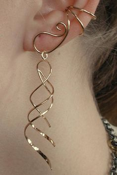 Gold ear cuff - Ear Cuffs Ear Saver Ear Cuff with Double Long Dangle Ear Wraps Non Pierced Ear Wrap Clip on Earrings Ear Cuff Gold or Rose Cuffs – Gold ear cuff Emerald Earrings, Crystal Earrings, Clip On Earrings, Ear Earrings, Rhinestone Earrings, Ear Jewelry, Cute Jewelry, Jewelry Making, Skull Jewelry