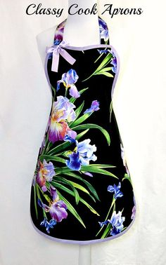 Apron Lavender Lilies Exotic TROPICALS in by ClassyCookAprons Shades Of Purple, Fabric Design, Sewing Crafts, Exotic, Lily, Pretty, How To Wear, Stuff To Buy, Aprons