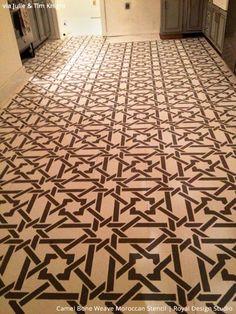 Moroccan Design on Stenciled Concrete Floor Finish - Royal Design Studio