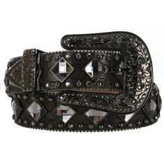 M & F Ladies Black Croc With Crystals Belt $30!