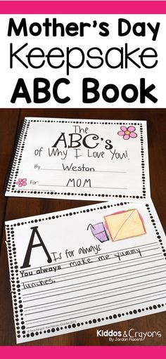 Moms love getting mother's day gifts from kids. This DIY Mother's Day ABC Book is a perfect Mother's Day gift that mom will treasure as a keepsake for years to come. It can also be given to an aunt, grandma as a mother's day gift.
