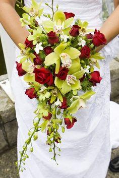 Green Orchid and Red Rose cascade Fall wedding bridal flowers bouquet Bouquet En Cascade, Cascading Wedding Bouquets, Bride Bouquets, Bridal Flowers, Flower Bouquet Wedding, Bridesmaid Bouquet, Floral Wedding, Wedding Corsages, Burgundy Wedding