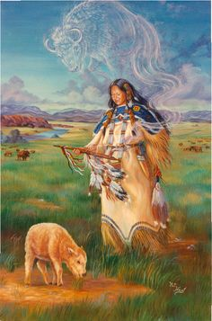 White Buffalo Calf Woman by HarttoHeart on DeviantArt Native American Pictures, Native American Symbols, Native American Women, Native American Artists, American Indian Art, American Indians, American Bison, Native Indian, Native Art