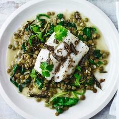 Cod with spinach and green lentil dhal