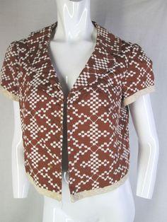 NANETTE LEPORE 12 JACKET TOPPER brown white embroidered clasp cotton cute work #NanetteLepore #BasicJacket