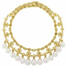 Double Strand Gold, Diamond and South Sea Cultured Pearl Fringe Necklace.