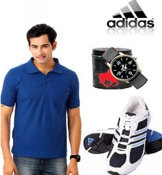 Combo Of ( Adidas Sports Shoes + Xpress Polo Tshirt + Polo Watch )