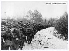 French legion of the German army (638th Infantry Regiment) on its way to Moscow from Smolensk. November 1941.