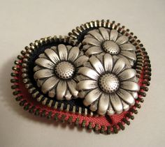 Zipper Brooch Pin with Metal Flowers by redyarn on Etsy