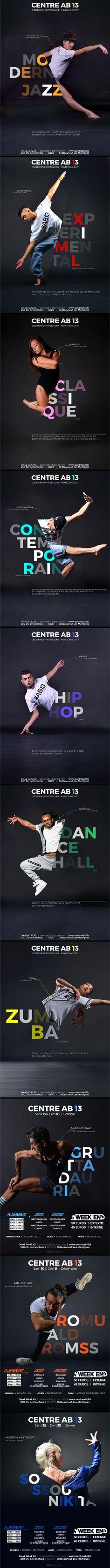 """CAMPAIGN Identité visuelle mise en place pour le """"CENTRE AB13"""" , École de danse située dans le sud de la France. #flyer #identité #visuelle #danse #dance #ecole #graphisme #campagne #collection #affiche #chorégraphe #école"""